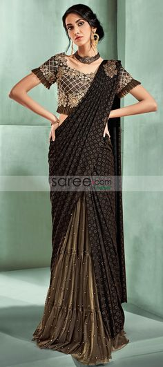 Brown Lycra Fancy Saree with Designer Frill Blouse Fancy Sarees, Party Wear Sarees, Ethnic Fashion, Indian Fashion, Half Saree Lehenga, Frill Blouse, Wedding Sari, Desi Wear, Black Saree