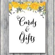 TH18-5×7-sign-cards-and-gifts-yellow-dandelion-wedding-bridal-shower-game