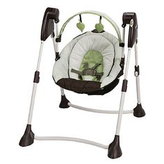 This Graco Swing By Me Portable Swing keeps baby pleasantly entertained in comfort. With multiple speeds, a fun detachable tool bar and comfy seat, this swing has it all. Folds easily for travel, to keep baby calm any where you go. Graco Baby Swing, Portable Baby Swing, Baby Swing Seat, Baby Car Seats, Infant Swing, Infant Seat, Baby Swing For Outside, Baby Swing Walmart, Baby Swings And Bouncers