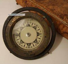 Antique Small Brass Ship ' S Compass W/ Patina Maritime Decor Compasses photo