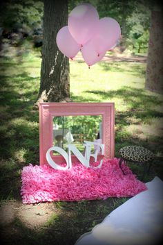 """Danika, we need to find a frame to paint like this...  Where do I find a frame?? Too cute!      Photo 22 of 43: Vintage Shabby Chic / Birthday """"Adelynn's 1st Birthday""""   Catch My Party"""