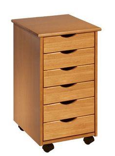 Amazon.com : ADEPTUS 6 Drawer Roll Cart, Medium Pine : Office Products