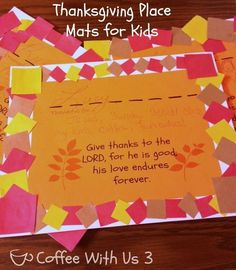Cool 2015 Thanksgiving placemat crafts -You should Learn for Kids - Fashion Blog