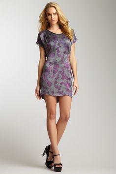 Rebecca Taylor Leather Trim Scoop Neck Floral Print Silk Dress by Spring Dresses on @HauteLook