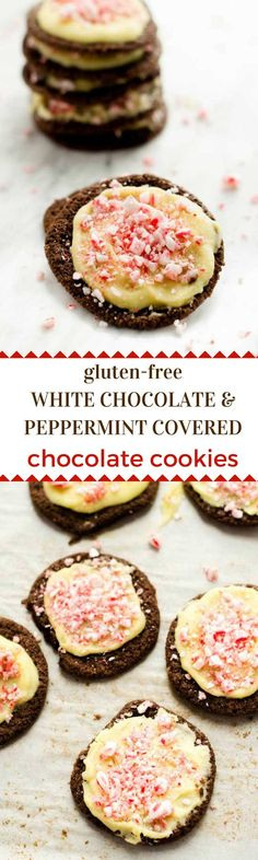 White Chocolate & Peppermint Covered Chocolate Cookies - These gluten free White Chocolate & Peppermint Covered Chocolate Cookies are a fun and festive way to brighten up your holidays!  #BobsHolidayCheer #ad @BobsRedMill