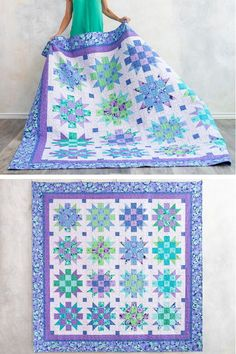 Quilt Pattern – Sew the Corsage Mystic Star Dawn Quilt Pattern … - Fabric Craft Ideas Star Quilt Blocks, Star Quilt Patterns, Star Quilts, Scrappy Quilts, Mini Quilts, Block Quilt, Patch Quilt, Bright Quilts, Purple Quilts