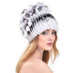 Queenfur Rabbit Fur Hat - Winter Fashion Knit Hats Women Real Fur Warm  Skullies Beanie ( cee5db39613b