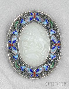 Silver, Jadeite, and Enamel Pendant/Brooch