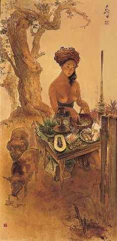 Artwork by Lee Man Fong, Rojak Seller, Made of Oil on board Vintage Paintings, Indonesian Art, People Of The World, Vietnam, Museum, Oil, Gallery, Board, Artwork