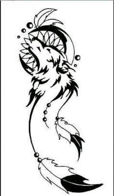 Howling wolf, moon and dreamcatcher tribal tattoo