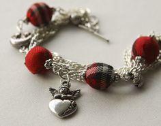 Red Tartan and Angel Bracelet from Folksy