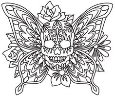 Butterfly wings and bold flowers decorate this classic, lively sugar skull design. Downloads as a PDF. Use pattern transfer paper to trace design for hand-stitching.