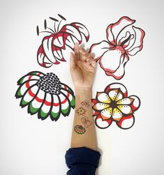 Set of 4  Wildflowers Temporary Tattoo / Spring by EasternCloud