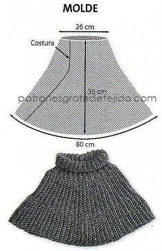 molde poncho crochet