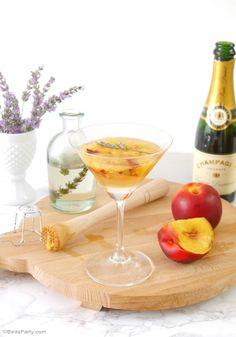 Lavender & Peach Champagne Cocktail Recipe - BirdsParty.com