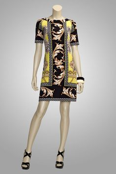 """Enchanted"" Neo-classical motif print stretch jersey dress is so South Beach hip."