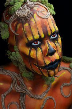 Halloween Pumpkins, Halloween Pumpkin Makeup, Halloween Face, Pumpkin Costume, Halloween Ideas, Halloween Costumes, Face Paint Makeup, Makeup Art, Sfx Makeup