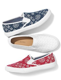 Bandana & Eyelet inspired Liv Print Slip-On Sneakers from Talbots. Perfect for the Americana holidays or a summer backyard BBQ.