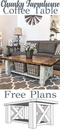 DIY Chunky Farmhouse Coffee Table - DIY Woodworking Plans