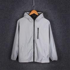 Men Reflective Jacket Casual Hip Hop Hooded Coat Tiger Night Shiny Streetwear XL