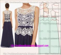Risultati immagini per moldesedicasmoda Diy Fashion, Ideias Fashion, Fashion Design, Sewing Clothes, Diy Clothes, Clothing Patterns, Sewing Patterns, Evening Dress Patterns, Techniques Couture