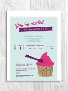 Cupcake Printable Invitation cupcake wars baking by PicadillyLime