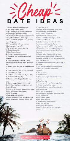 60 Cheap Date Ideas for College Students : Inexpensive college dates that are still fun. 60 fun and cheap college date ideas to impress your date without breaking the bank. Creative date nights are often the most fun anyway! Relationship Challenge, Relationship Advice, Marriage Advice, Happy Marriage, Relationship Questions, Strong Marriage, Dating Advice, Cute Relationships, Healthy Relationships