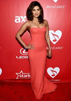 Finished with a Kotur clutch, Priyanka Chopra's Zac Posen strapless number looked like a classy pick for MusiCares' Person of the Year Gala honouring Bob Dylan.