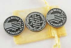 Set of 3 God Bless America Armed Forces Pocket by CourageInStone, $6.00