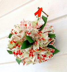 Christmas Rag Ball Ornament red green designer fabrics and ribbons