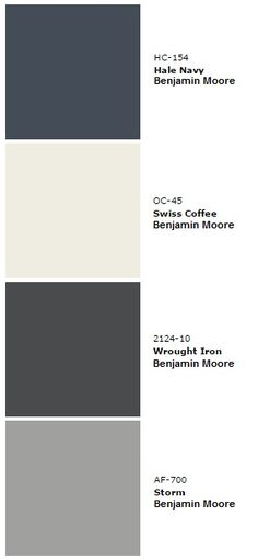 House Color Pallet - Hale Navy (living room 3 walls stairway baby room) Swiss Coffee (main color kitchen entrance master bath) Wrought Iron (doors and railing) Storm (master bedroom spare room main bath) White non-tinted (trim). House Paint Exterior, Exterior Paint Colors, Exterior House Colors, Paint Colors For Home, Paint Colours, Navy Living Rooms, Dark Grey Walls Living Room, Navy And White Living Room, Wrought Iron Doors