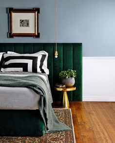 Green velvet bedhead, powder blue walls, contemporary linen and touches of gold... Photo: Will Horner / bauersyndication.com.au