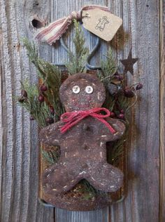 Sweet Primitive Gingerbread Man On Rusty Old Kitchen Grater - Winter and/or Christmas Decoration on Etsy, $16.00