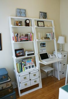 ladder shelf desk! compact. includes books, non-work stuff...good mix
