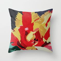 Parrot Tulip Abstract Pillow by Marjolein on Society6  #society6 #throwpillow #Pillow #home #decor #tulip #yellow #red
