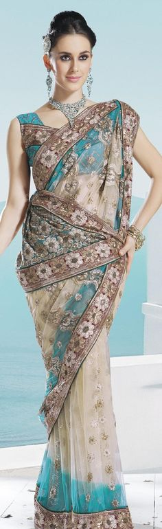 $74.86 Beige Brown and Teal Blue Net Embroidery Saree 16645 With Unstitched Blouse