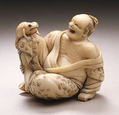 Kaigyokusai (Masatsugu) (Japan, Osaka, 1813-09-13 - 1892-01-21)  Immortal with Toad: Gama Sennin, mid- to late 19th century  Netsuke, Ivory with sumi, inlays