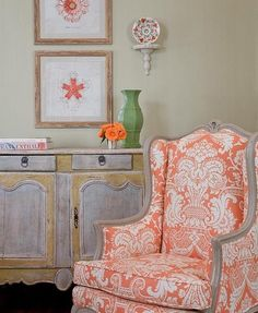 Coral and rustic beige/brown