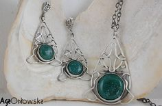 #earrings and #pendant with aventurine cabochons.