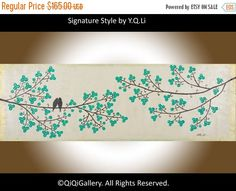Modern Abstrect art abstract painting green flowers by QiQiGallery