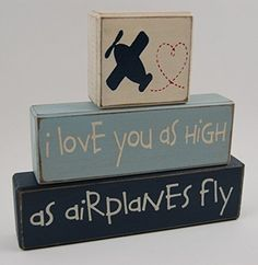 Amazon.com: I love you as high as airplanes fly - Primitive Country Wood Stacking Sign Blocks Airplane Theme Decor-Airplane Nursery Room-Airplane Baby Shower-Airplane Birthday Home Decor: Handmade