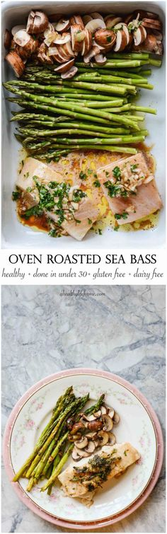 Gluten Free Dairy Free Roasted Sea Bass Asparagus and Mushroom Recipe