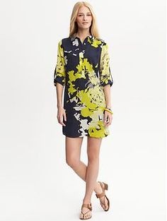 Painterly floral shirtdress | Banana Republic...wish it weren't polyester, but, oh well...me likey and it's meant to show off the gams of steel.