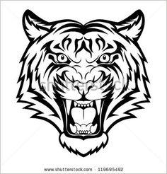Tiger anger Black tattoo Vector illustration of a tiger head - Shutterstock