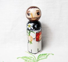 St Dominic Wooden Peg Doll - Catholic Little People Saints - Made to Order