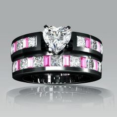 White Heart Cubic Zirconia Black Engagement Ring Wedding Ring Set for Women