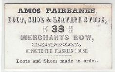 1860's Trade Card for Amos Fairbanks Boots Shoe Leather Store 33 Merc 4641 | eBay