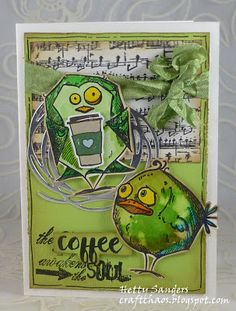 """Here my card for the Monday Challenge on the SimonSaysStamp Blog : """"Birds of a Feather"""". Again made with the scraps on my table. ..."""