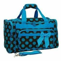 Rakuten.com:Handbags Bling and More|Polka Dot Pattern Duffle Bag-Brown/Blue|Uncategorized