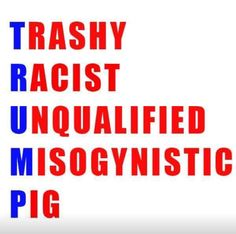 I love it all except the 'pig' because I consider that an insult to compare this DEMON trump to wonderful pigs! They are great animals; change the 'p' to PRICK!